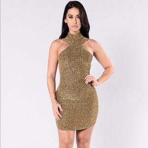 Fashion nova Gold sparkly mini cocktail dress
